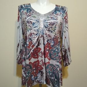 Live and Let Live Paisley Sequin V-Neck Blouse